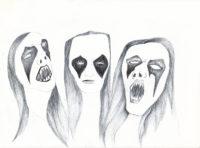 Bertrand Grave. Dibujo. Boli Bic. Serie Black Metal. Black Metals. 2016.