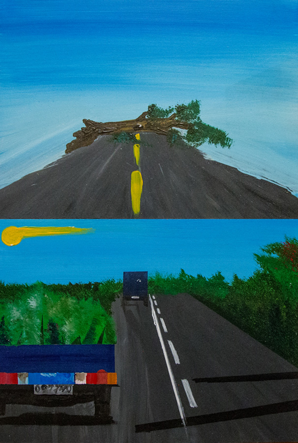 Bertrand Grave. Pintura. Serie Consume. Camino a la destrucción. 2016.