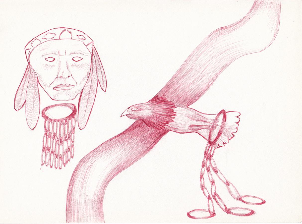 Bertrand Grave. Dibujo. Boli Bic. Serie Black Metal. Indian Eagle. 2016.
