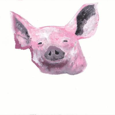 Bertrand Grave. Pintura. Serie Black Metal. Pig 03. 2016.