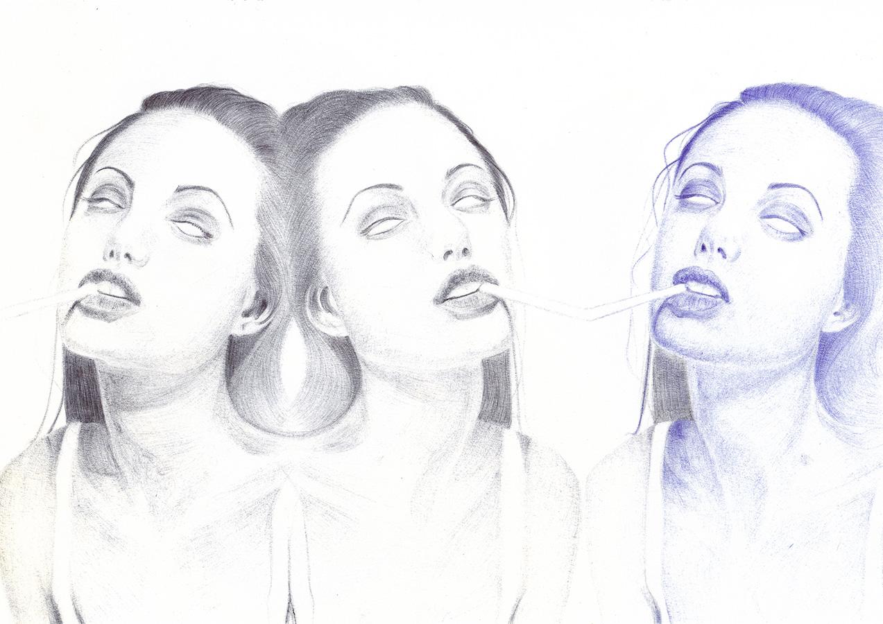 Bertrand Grave. Dibujo. Boli Bic. Serie Transmutaciones. Angeline 0.1. 2017.